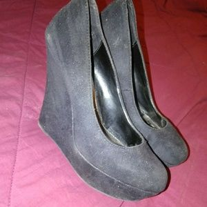 Shoes - Black Suede Wedges
